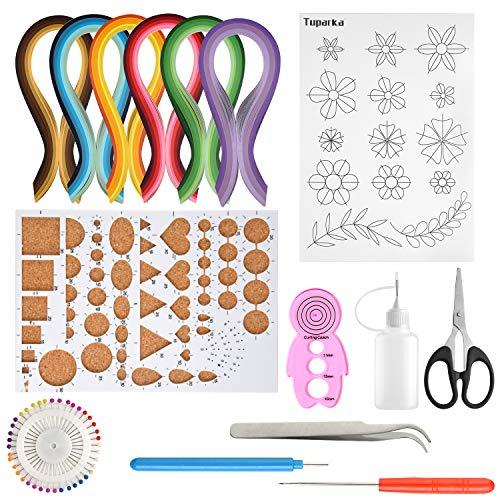 TUPARKA 15 Pcs Papier Quilling Kits mit 29 Farben 600 Streifen Quilling Papier DIY Design Zeichnung Handwerk Werkzeug