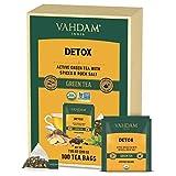 VAHDAM, Orgánica Té Verde Detox Kahwa (100 Bolsitas de Té) | Té Verde + Jengibre + Tulsi + Clavo + Comino | Ingredientes 100% Naturales | Infusión de Té Verde en Bolsitas Piramidales