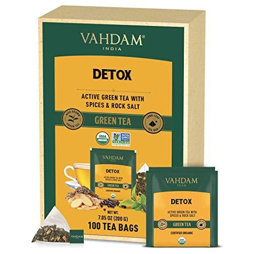 VAHDAM Biologico Tè Verde Detox Kahwa (100 Bustine di Tè) | Tè Detox | Tè Verde Detox in Bustina Piramidale | Tè Verde di Alta