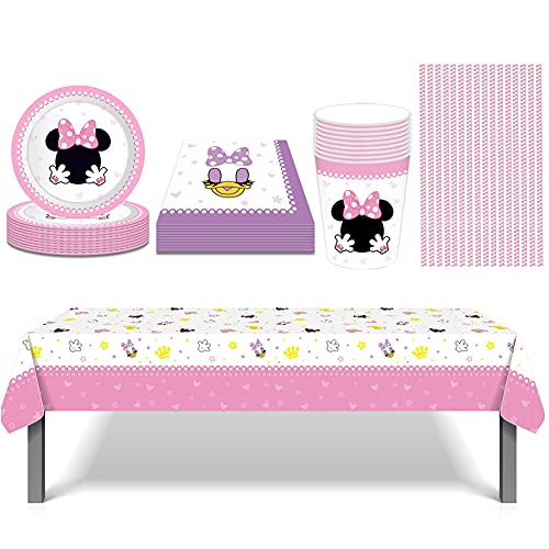 BESTZY 61 Piezas Minnie Mouse Party Vajilla,Fiesta de cumpleaños Vajilla Fiesta Minnie Decoración Cumpleaños Conjunto de Suministros, Plato, Servilleta de Papel, Mantel,Taza, Paja (8 Invitados)
