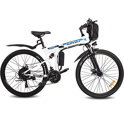 VARUN E-Bike Klappbar, Damen Herren 26 Zoll Elektro Mountainbike mit (288WH) 250W Motor, Wechselbarer 36 V / 8 Ah Akku,Shimano 21-Gänge Faltbar Elektrofahrrad für Pendeln zur Arbeit und Outdoor Reisen