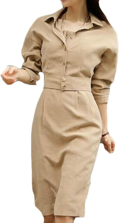 CRYYU Women Office Work Long Sleeve Pure color Slim Fit Longline Midi Dress