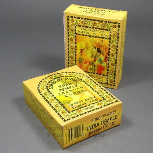 Canción de India – India Templo Cono de incienso de cono, 2 X 25 Pack, 50 conos Total, (in7)