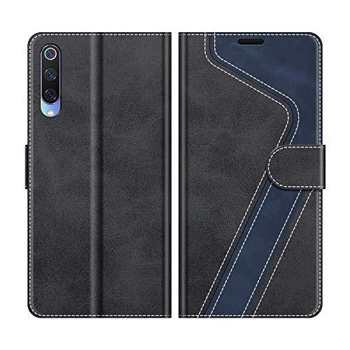 MOBESV Handyhülle für Xiaomi Mi 9 Hülle Leder, Xiaomi Mi 9 Klapphülle Handytasche Hülle für Xiaomi Mi 9 Handy Hüllen, Modisch Schwarz