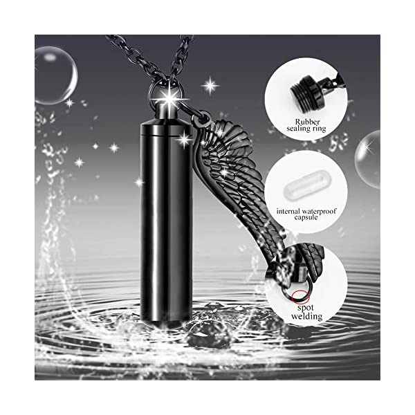 Dletay Cylinder Cremation Urn Necklace for Ashes Memorial Keepsake Pendant with Angel Wing Stainless Steel Remembrance Jewelry