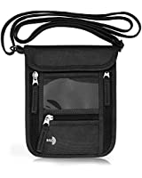WALNEW Passport Holder Neck Pouch Travel Neck Wallet with RFID Blocking – 7 Pockets with Adjustable Neck Strap to Keep Your Passport Document and Credit Card Safe (Black)