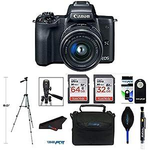 Canon EOS M50 Mirrorless Digital Camera with 15-45mm Lens (Black) + Pixibytes Bundle from Pixibytes