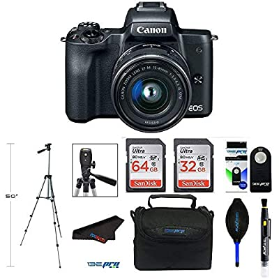 Canon EOS M50 Mirrorless Digital Camera with 15-45mm Lens (Black) + Pixibytes Bundle from Pixibytes