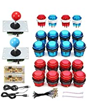 jinclonder Accessoires d'arcade de Bricolage Puce de Joystick d'ordinateur USB avec Bouton de lumière Accessoires de Jeu Double 5V Manette de Jeu USB Matériel: ABS 20 LED Encodeur de Boutons d'arcade