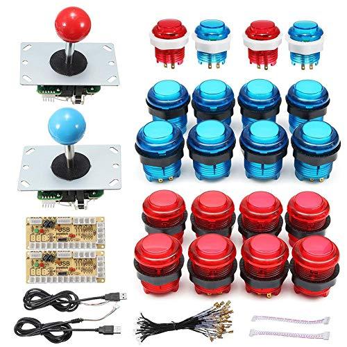DIY Arcade accesorios USB ordenador Joystick Chip con botón de luz 5 V Juego doble accesorios Gamepad USB Material: ABS 20 LED Arcade Buttons Encoder
