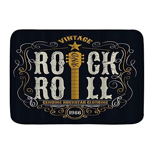 USOPHIA lfombra de baño,Retro Art Word Rock and Roll Star Guitar,Alfombra de baño Alfombra Antideslizante,29.5
