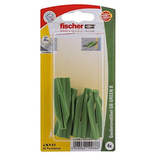 fischer 524842 K, Inhalt: 4 x Gasbetondübel GB Green 8