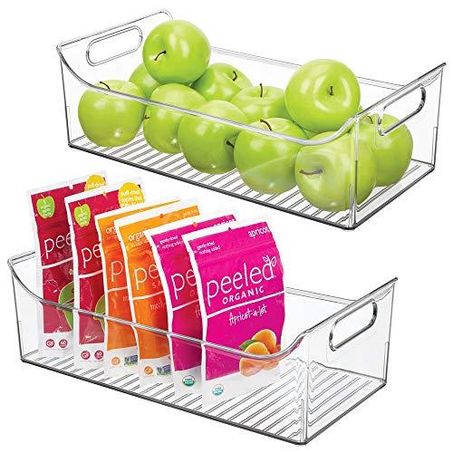 mDesign Juego de 2 cajas para nevera con asas – Organizador de frigorífico largo para almacenar alimentos – Contenedor transparente de plástico para el armario de la cocina o la nevera – transparente