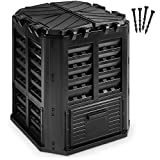 Garden Composter Bin Made from Recycled Plastic – 95 Gallons (360Liter) Large Compost Bin - Create Fertile Soil with Easy Assembly, Lightweight, Aerating Outdoor Compost Box