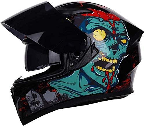LAMZH Casco portátil para motocicleta, locomotora, para hombres y mujeres, cuatro estaciones universales, color negro, antiempañamiento, doble lente, H, grande, protección