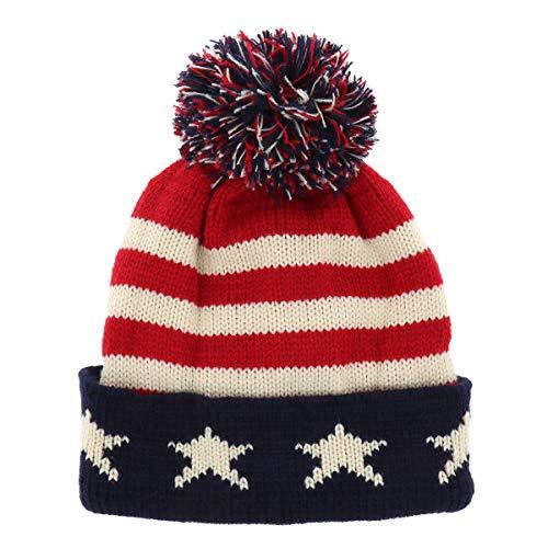 SHIPITNOW Gorro Hombre o Mujer Patrón de Bandera Americana - Gorro de Punto Invierno Rojo Bianco y Azul...