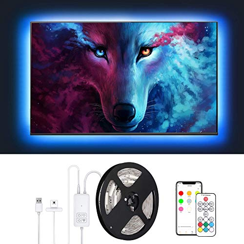 LED Strip Lights, TV Backlight RGB 5050 LED String Lights App Control Collection Sync Function 3M/9.8ft USB for 40-65 Inch Bedroom Room Party Decorations Alexa and Google Assistant Voice Control