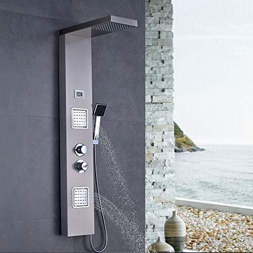 Auralum Edelstahl Duschpaneel mit Thermostat, Wasserfalldusche, Regendusche, Handbrause, Duschsystem gebürstetes Edelstahl Optik