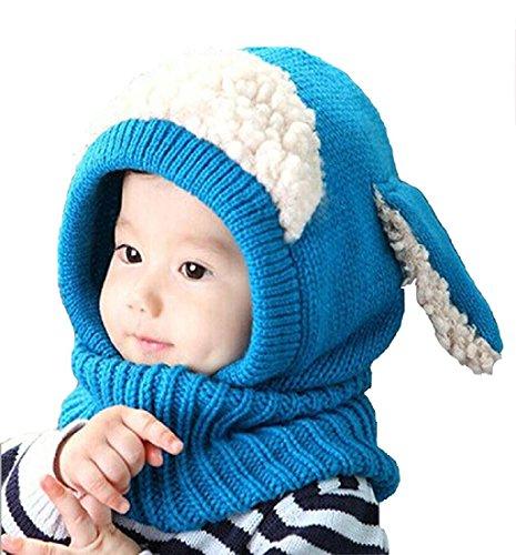 Panlom Winter Baby Kids Girls Boys Warm Woolen Coif Hood Scarf Caps Hats (Blue)