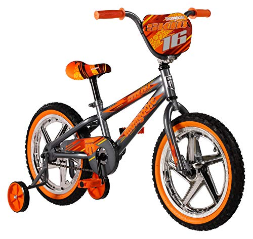 Mongoose Skid Boy's Freestyle BMX Bike with Training Wheels, 16-Inch Wheels, Grey