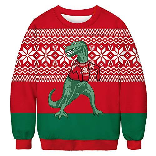 Men & Women Sweatshirt Loose Fit 3D Graphic Printed Christmas Dinosaur Hoodie Shirt for Xmas Bft073 M