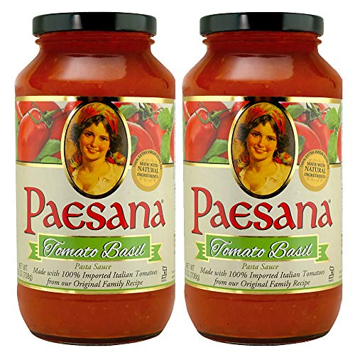 Paesana Traditional Tomato Basil Pasta Sauce — Gluten Free, Vegan Friendly and made with 100% Imported Italian Tomatoes - Packed in the USA, 25 oz (2 Pack)
