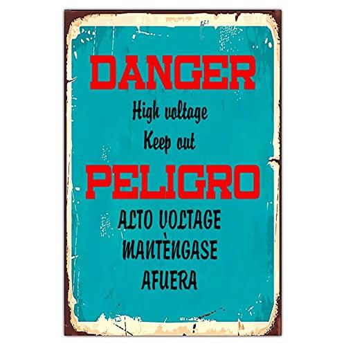 Cartel de metal personalizado con peligro de alto voltaje, estilo vintage, para decoración de jardín, rectangular, de aluminio, divertido, fácil de montar, color verde oscuro, 20 x 30 cm