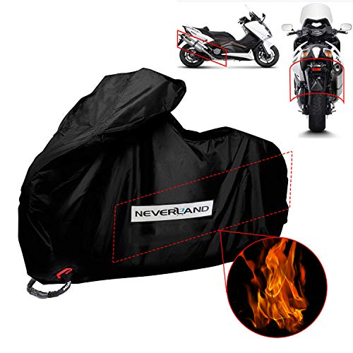 NEVERLAND Funda para Moto Scooter Resiste el Calor del silenciador 230x100x140 CM Gran compatibilidad Tela Impermeable 300D Oxfords Durable Negro