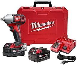 "Ferramenta elétrica Milwakee 2659-22 2490398 M18 1/2"" Chave de impacto compacta com kit de pino removível, inclui duas bat..."
