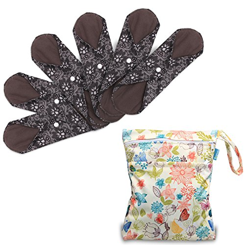 Teamoy 6 Stück/Set Waschbare/Wiederverwendbare Slipeinlagen für Starke Tage, mit Holzkohle Absorbency Schicht zu vermeiden Lecks, Gerüche und Färbung, (Klein- 20cm/7.87 Inch, Flowers)