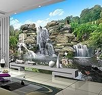 Wkxzz 壁の背景装飾画 写真壁紙カスタムクラシック中国スタイルのロッカリー滝背景壁絵画リビングルームテレビソファ家の装飾壁装材-150X120Cm