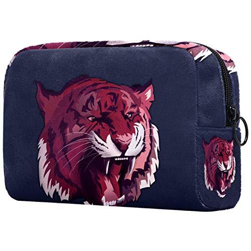 Bolsa de aseo con cremallera, bolsa de maquillaje reutilizable de gran capacidad, bolsa de viaje para cosméticos con animales tigre, gato depredador para adolescentes y mujeres