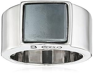 Baldessarini Herren-Ring 925 Silber rhodiniert schwarz lackiert Hämatit grau 60 (19.1) - Y2121R/90/E1/60