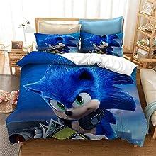 EA-SDN Sonic - Funda de edredón, sábana bajera, juego de cama de 3 piezas para niños, impresión digital 3D, cremallera oculta (SNK #11, 140 x 210 cm)