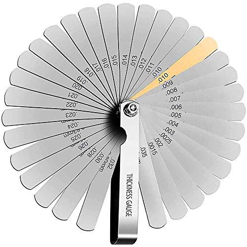 Fühlerlehre-Set,32-Teilig Metrisches Master Fühlerlehre Set Edelstahl Lesen Kombination Werkzeug zum Messen von Spaltbreite/Dicke in Zoll/Metrische Größen