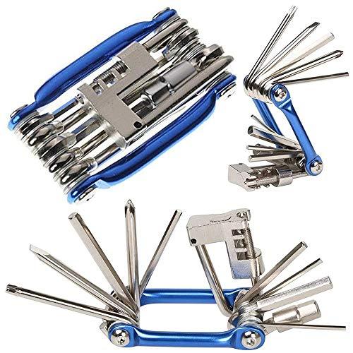 11 en 1 Herramienta de Reparación de Bicicleta Multifunción, Mini Kit de Herramientas Plegables, Herramienta de Reparación de Bicicletas Portátil Compacta, Kit de Herramientas de Mantenimiento