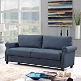 Classic Living Room Linen Sofa with Nailhead Trim Furniture with Storage (Blue)