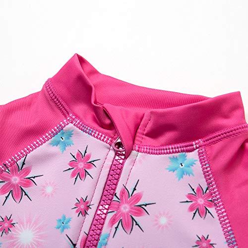 『BONVERANO ベビー 水着 UPF50+ UVカット 女の子 長袖 ワンピース ラッシュガード キャップ付き (Rosy, 74-80cm)』の2枚目の画像