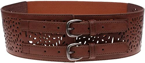 Hollow Carved Double Needle Buckle Elastic Waist Style All-match Female Ladies Elastic Wide Belt Casual Belt (Color : Brown)
