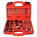 CCLIFE 30 piezas juego de puntas llaves para instalar y extraer poleas de alternador entrada 12,5 mm (1/2')