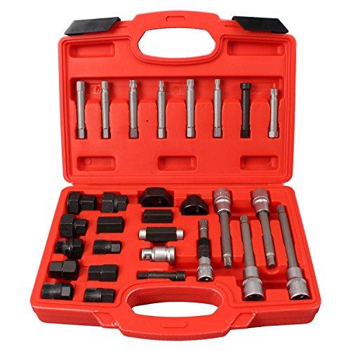 CCLIFE 30 piezas juego de puntas llaves para instalar y extraer poleas de alternador entrada 12,5 mm (1/2