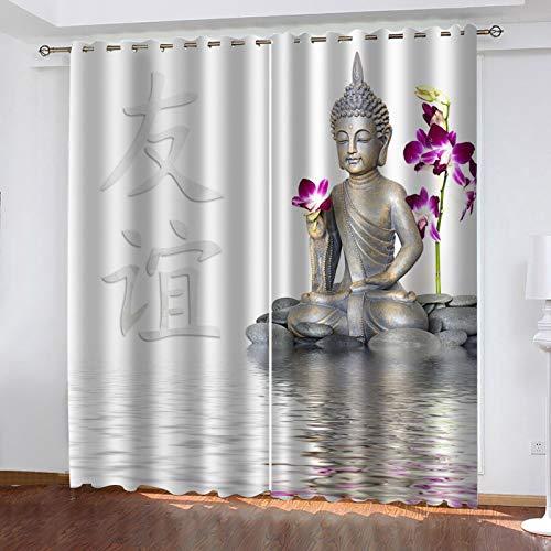 JNWVU Verdunkelungsvorhänge-Set, Blackout Vorhang Schlafzimmer 200X214Cm (BxH) Buddha-Figur Ösenschal...