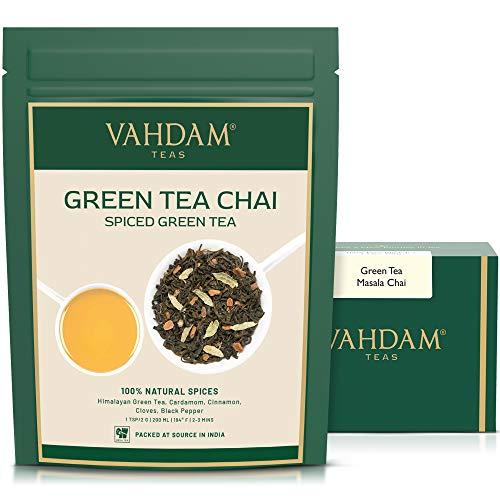 Grüner Tee Masala Chai Tee Loses Blatt -100 Tassen, 200g - Natürliche grüne Teeblätter, Zimt, Kardamom, Nelken und schwarzer Pfeffer - Traditioneller grüner gewürzter Chai-Tee-Rezept