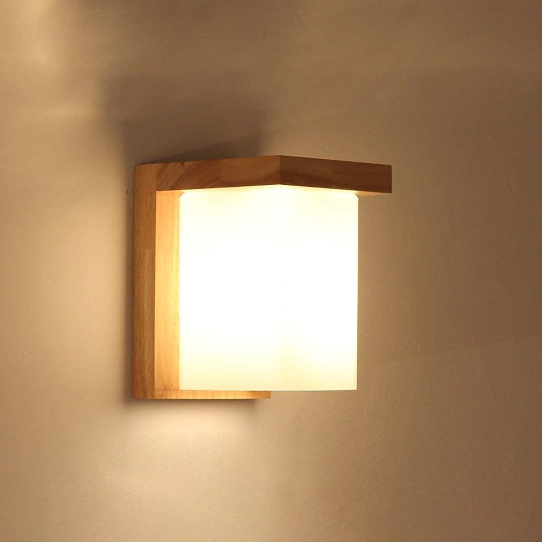 GuoEY Trading Company - Lámpara de Mesa de Madera Moderna, Sencilla, de Madera, Cuadrada, A + (Tamaño  Double Head)