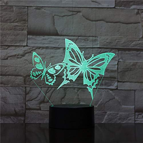 3D Night Light Acrylic Panel Stereo Illusion Table Lamp 7 Color Changing luminaria Light with Touch Remote Control Butterfly1746