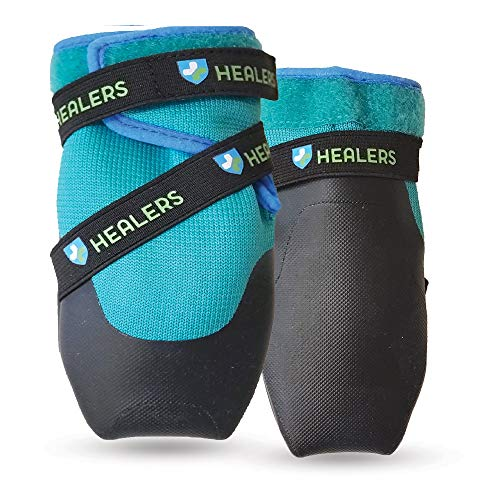 Healers Dog Boots for Paw Protection with Non Slip Sole, Reflective Pet Booties, 1-Pair, Blue, Small/Medium, Teal (755441)