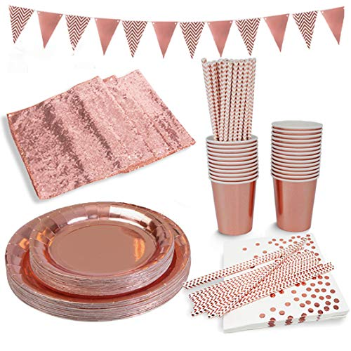 Rose Gold Paper Party Supplies Disposable Paper Plates Tableware Set-25 Dinner Plates,25 Dessert Plates,25 Cups,25 Napkins,25 Straws,1 Table Runner,1 triangle party banner for Serves 25