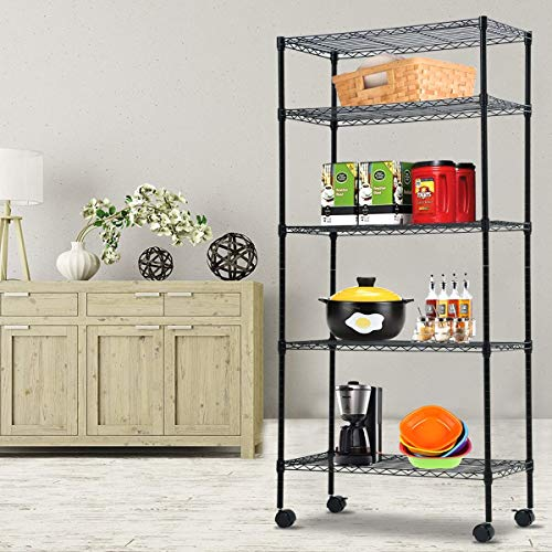 5-Shelf Shelving Storage Unit, Metal Organizer Wire Rack, Black