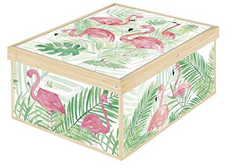 LAVATELLI Flamingos Flamants Roses Caja en Carton, Blanco/Rosa/Verde, 39 x 50 x 24 cm
