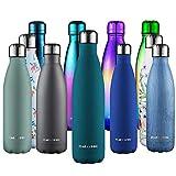 CMXING Bottiglia Acqua, 500ml/ 750ml Doppia Parete Acciaio Inox Sottovuoto Coibentato Bottiglia Termica, Sport Borracce Thermos (Verde Scuro, 750 ml)